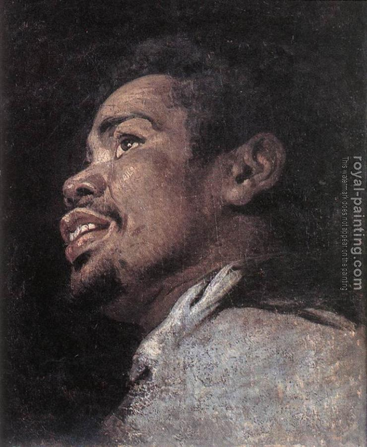 Gaspard De Crayer : Head Study Of A Young Moor
